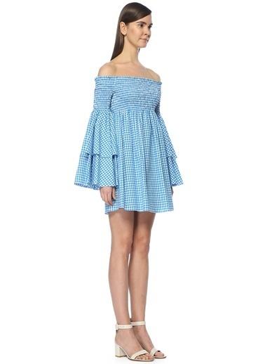 Caroline Constas Kolları Volanlı Mini Elbise Turkuaz